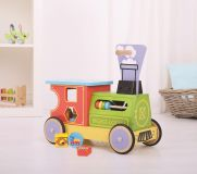 Dřevěné hračky Bigjigs Toys Dřevěný motorický vozík Mašinka