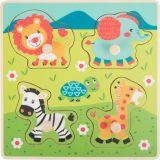 Small Foot Dřevěné vkládací puzzle Safari