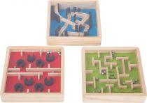 Dřevěný barevný kuličkový labyrint 1 ks modrý
