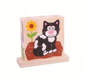 Dřevěné hračky Bigjigs Baby Nasazovací kostky dopravní prostředky Bigjigs Toys
