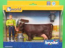 Bruder Zemědělský set s krávou a figurkou