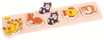 Dřevěné hračky Bigjigs Baby Dřevěné vkládací puzzle domácí zvířata Bigjigs Toys