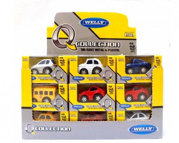 Dřevěné hračky Welly - Autíčka na natahování 3 druhy žlutá