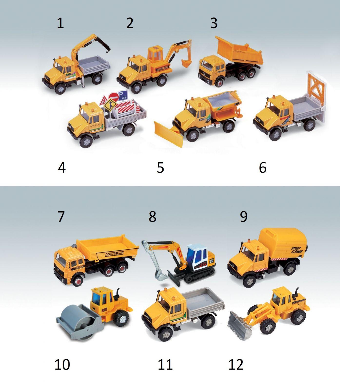 Dřevěné hračky Welly - Urban Spirit Stavební stroje 1 ks - válec č.10