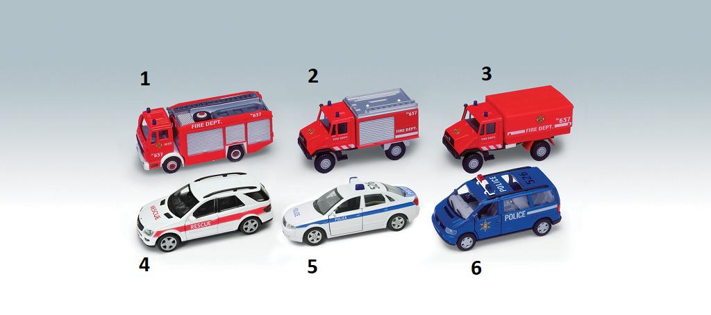 Dřevěné hračky Welly - Urban Spirit Záchranářské auta 1ks - modrá policie 6